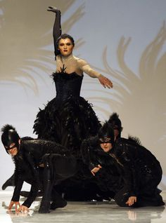 Dancers from the Mikhailovsky Theatre's ballet company present costumes designed by the Serbian artist Angelina Atlagic for Nacho Duato's production of The Sleeping Beauty during a show at Aurora Fashion Week in St.Petersburg, April 13, 2012.