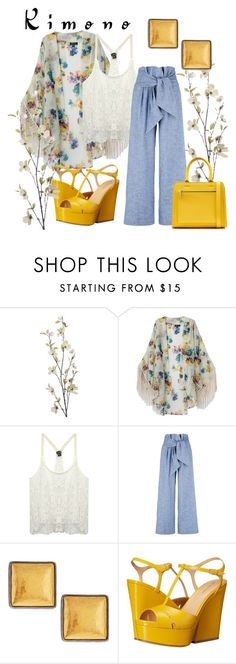 """""""Kimono"""" by pixidreams ❤ liked on Polyvore featuring Pier 1 Imports, Wet Seal, MSGM, Gurhan, Sergio Rossi, Victoria Beckham and kimonos"""