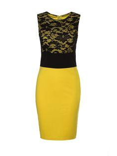 Crew Neck Lace Patchwork Bodycon Dress