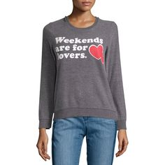Chaser Weekends Are For Lovers Fleece Pullover ($59) ❤ liked on Polyvore featuring tops, sweaters, grey, lightweight sweaters, grey heart sweater, long sleeve tops, pullover sweater and heart sweater