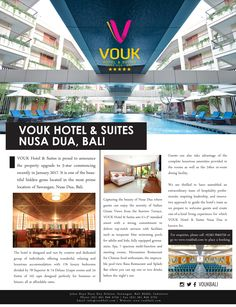 """VOUK Hotel & Suites Nusa Dua, Bali thrilled to be featured on HellobaliGuide Magazine latest edition of """"Bali for Two"""".  Read more of our coverage on Hello Bali's February edition here: http://hellobali.guide/emagfiles/issue/Bali%20For%20Two/files/assets/basic-html/index.html#73  #voukhotelandsuites #voukbali #hellobalimagazine #hellobaliguide #publication #coverage #nusadua #luxuryhotel #bali #travel #paradise #sanctuary #wanderlust #love"""
