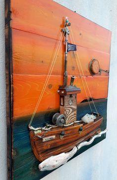 fishing boat/drift wood/on pallet wood Repurposed Wood Projects, Driftwood Projects, Driftwood Art, Scrap Wood Art, Scrap Wood Crafts, Diy Wall Art, Wood Wall Art, Wood Wall Design, Diy Dining Room Table