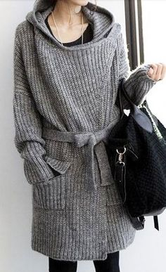 Belted Hooded Cardigan