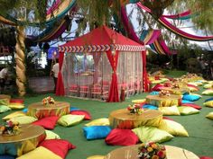 raj tents, moroccan theme, colorful, party, cabana | I love all the floor pillows and the colorful curtains on the tent for this East Indian, Moroccan, or Arabian nights party