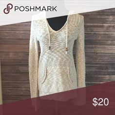Hooded Sweater Cream colored hooded sweater with front packet Roxy Sweaters Crew & Scoop Necks