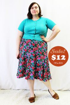 CLEARANCE  Plus Size  Vintage Floral Yoke Flare by TheCurvyElle