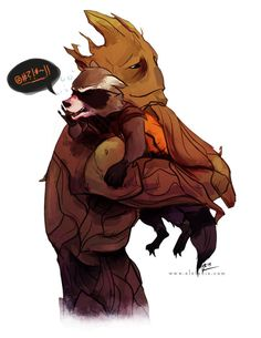 Need More Rocket And Groot? Here's a Ton of Fan Art to Warm Your Heart   In Katie A.M.'s piece, Groot carries off his drunken, swearing pal (you can see more of her Guardians of the Galaxy fanart in her deviantART gallery):