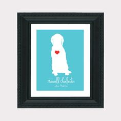 Golden Retriever Custom Pet Gift 8x10 Art Print - Personalized Pet Gift, Dog, Animal, Heart, Name, Funny, Cute, Silly, Gift for Friends, Mom. $18.99, via Etsy.