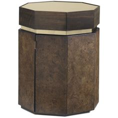 With this elegant mixing of natural materials and metal accents, you've found a side table worthy of celebrating. Sustainable cork and fumed Eucalyptus veneers are finished in our darkest French Roast before the addition of a Gold Bullion metal band and a chic, gold-tinted mirror for the table top. The unique hexagon shape measures 22-inches in diameter. Use it as a side table with two upholstered chairs, place one or more at the end of a statement sectional, or, at 27-inches high with a ...