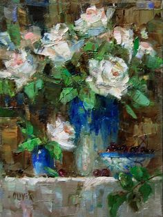 Birthday Roses original fine art by Julie Ford Oliver