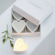 Unscented Ceramic Heart Tealights from The White Company