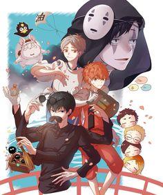 I can die for all haikyuu x ghibli crossovers Haikyuu Karasuno, Haikyuu Funny, Haikyuu Fanart, Haikyuu Anime, Kageyama, Hinata, Comic Anime, Manga Anime, Anime Art