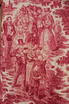 Antique French Toile La Noce Du Soldat red c 1850 valance wedding fabric Toile Design, Antique Wallpaper, Toile Wallpaper, Victorian Wallpaper, Architecture Art Design, Shops, French Fabric, Shabby Chic Bedrooms, Wedding Fabric