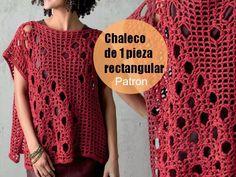 Precioso chaleco de una sola pieza rectangular unido por la mitad mejor ver los patrones en la g...