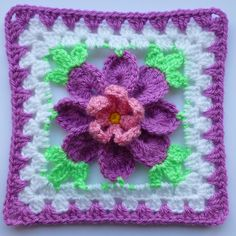 """Flower in Granny Square""...pattern by Crochet- atelier available to buy."