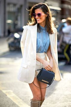 London-Name: Hanneli Mustaparta  Blazer: Acne (shop similar: Acne or Smythe)  Shirt: Acne (shop similar: Thomas Pink or Ralph Lauren)  Shorts: Acne (shop similar: MINKPINK)  Similar Bag: BCBG or Marc by Marc Jacobs  Sunglasses: Miu Miu