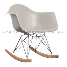 Charles Ray Eames Style RAR Rocking Chair - Cool Grey