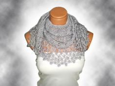 Silvery gray women shawl. Fashionable shawl. Personalized weave design. Stole, capelet, shawl for woman. February trends.... $48.00, via Etsy.