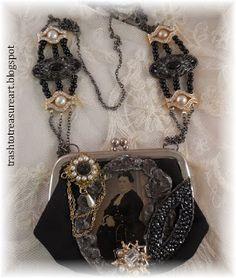 Trash to Treasure Art: Antique Tin Type and Coin Purse Necklaces Jewelry Art, Vintage Jewelry, Jewelry Design, Jewelry Ideas, Unusual Jewelry, Change Purse, Leather Jewelry, Diys, Jewelery