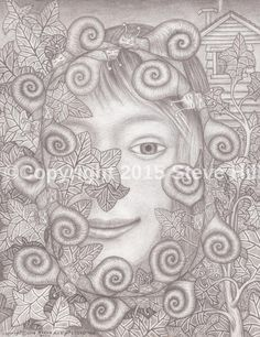 """ Queen of the Snails "" #pencildrawing #portrait #surreal"