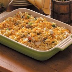 Had this recipe from Taste of Home - Chicken Church Casserole - today at church (of all places) and it was delish!