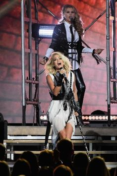 Carrie Underwood performs onstage at the 50th annual CMA Awards at the Bridgestone Arena on Nov. 2, 2016, in Nashville, Tenn. She also co-hosted the show and won the award for female vocalist of the year.