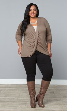 Our plus size Twisted Pullover Bellini is perfect for a casually nice Thanksgiving dinner with the family.  Browse our entire made in the USA collection online at www.kiyonna.com.  #KiyonnaPlusYou