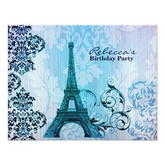 paris eiffel tower floral vintage birthday party card