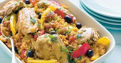 Taste the sunny flavours of Spain in this hearty chicken and rice dish.