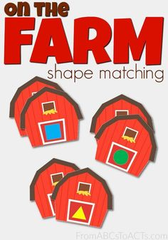 Include even your littlest learners in your farm preschool theme unit with these printable on the farm shape matching cards! Farm Lessons, Preschool Lessons, Preschool Math, Preschool Printables, Preschool Shapes, Preschool Programs, Piano Lessons, Free Printables, Farm Activities
