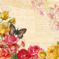 Serviettes en papier imprimé papillon et roses - 30x30