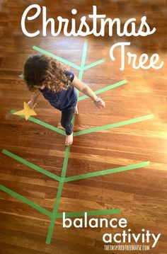 Looking for more fun balance challenges? Let's get started! Easy-to-set-up holiday Christmas Tree activity, kids will work on balance, motor planning, coordination, and core strength! #christmastree #balanceactivity #coordination  PB: the inspired treehouse