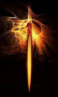 Fiery sword of the spirit in golden flames.This is awesome Prophetic Art… Flaming Sword, Sword Of The Spirit, Sword Tattoo, Bride Of Christ, Prophetic Art, Biblical Art, Lion Of Judah, Weapon Concept Art, Armor Of God