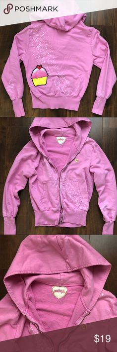 PRIMP Cupcake Pink Splattered Jacket Hoodie XS Good used condition. Worn several times and washed. Brand is Primp! Flaws are just from normal wear. Fading & a lil shrinkage is to be expected. No stained, holes, rips, etc. The splattered dots are intentional and came that way. My fav part is the adorable cupcake! 💖Size XS and definitely true to size. A little on the shorter side, so please ask questions if you have any. Inside is a light terry material. No odors & comes from a smoke-free…
