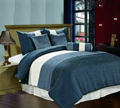 Amber 7 piece Jacquard Comforter Set Insignia Blue, Blue Heaven, Cream Metallic Color Fused Pleating Stripes Bed Cover QUEEN Size Bedding by Cozy Beddings, http://www.amazon.com/dp/B009YMEV0A/ref=cm_sw_r_pi_dp_vE4Tqb03B2KXQ