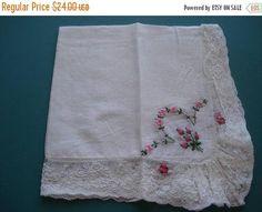 50% OFF SALE Vintage Hand Embroidery  Pink Rosebuds  Val