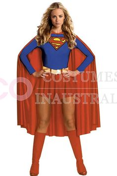 Ladies Superhero Superwoman Supergirl #Costume Fancy Dress UP Spandex Full Outfit.