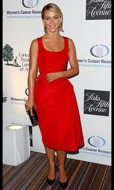 Celebrity Dress Julianne Hough Red Tea-length Party Dress Research Funds 16th Annual Formal Dress.prom dresses,formal dresses,ball gown,homecoming dresses,party dress,evening dresses,sequin dresses,cocktail dresses,graduation dresses,formal gowns,prom gown,evening gown