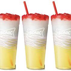 Passion Tea Lemonade, Frozen Lemonade, Frozen Drinks, Sonic Drinks, Non Alcoholic Drinks, Beverages, Blue Raspberry Lemonade, Pink Lemonade, Sonic Shakes