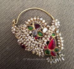 South India | Antique Nath Nosering; gold, basra pearls ruby and more | This is one of the 16 adornments or Shringars worn by a married woman | ©WovenSouls.com