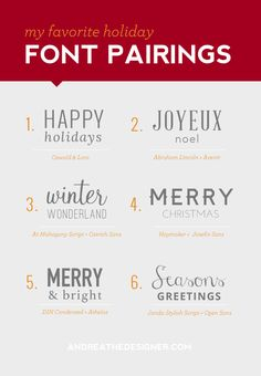 My Favorite Holiday Font Pairings - Andrea the Designer Adobe Indesign, Typography Letters, Typography Design, Copperplate Font, Holiday Fonts, Christmas Fonts, Holiday Decor, Gfx Design, Vector Design