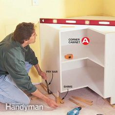 Here's a home improvement job that'll give you instant home equity along with great visual impact. Installing your own kitchen cabinets isn&r Frameless Kitchen Cabinets, Installing Kitchen Cabinets, Diy Kitchen Cabinets, Kitchen Cabinet Doors, Kitchen Ideas, Kitchen Inspiration, Cabinet Plans, New Cabinet, Cabinet Ideas