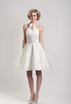 Short Wedding Dress    BASS - Brocade and Organza halter neck short wedding dress with optional bow and key hole detail at neckline.