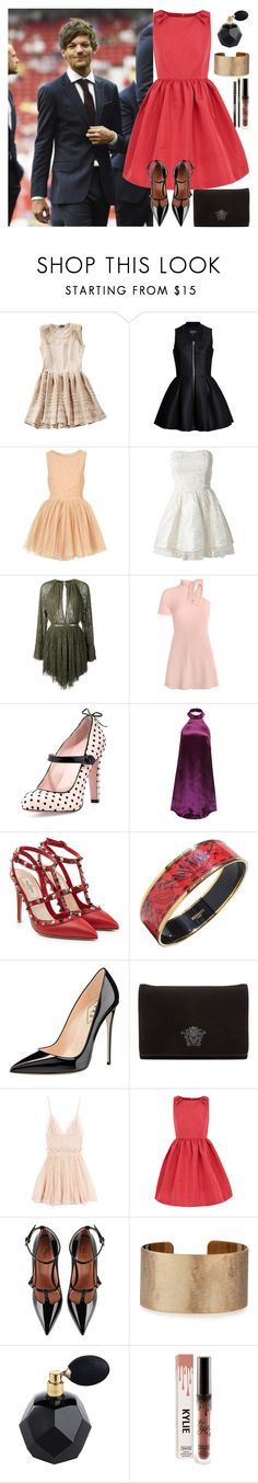 """With Louis"" by angelbrubisc ❤ liked on Polyvore featuring Lavinia Cadar, Topshop, AX Paris, Jay Ahr, RED Valentino, WithChic, Valentino, Hermès, Versace and Alexander McQueen"