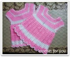 Perfect for 0-6 old month baby girl. The pattern works top to bottom and used pink color and white color.