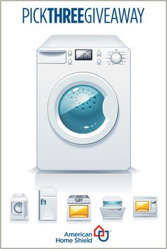Want to upgrade your laundry room? Would a brand-new GE® washing machine help? Enter for your chance to win the American Home Shield You Pick Three Giveaway and you could go home with that new washing machine, as well as two other appliances of your choice! Not bad, huh? For official rules and a chance to win, visit: ahs.com/sweeps