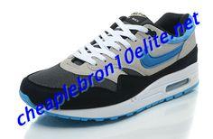 Dark Grey and Black Nike Air Max 1 87 Mens White Blue 554717 040 Yellow Nikes, Black Nikes, Nike Air Max Mens, White P, Air Max 1, Dark Grey, Sneakers, Blue, Shoes