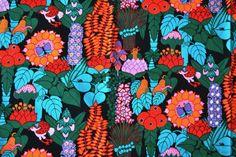 Paradise Ann-Marie Netterdag for Tampella Retro Pattern, Top Pattern, Pattern Design, Vintage Fabrics, Vintage Patterns, Bold And The Beautiful, Floral Prints, Art Prints, Stuffed Animal Patterns