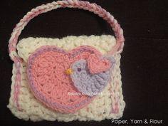 Free Ravelry: Little Birdie Love Crochet Purse pattern by BellaMia Crochet