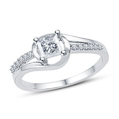 Princess & Round Cut Sim Diamond 14k White Gold Finish 925 Silver Promise…